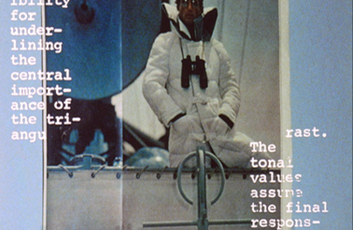 White text over an advert showing a man on a boat