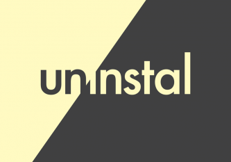 diagonal design half yellow half black with the text 'Uninstal' across each half