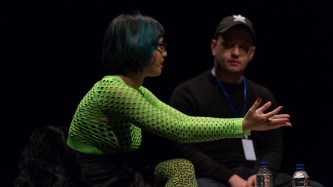 Jackie Wang & Huw Lemmy talking on stage at EPISODE 9
