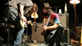 Mick Flower and Matt Valentine play guitar my two amplifiers