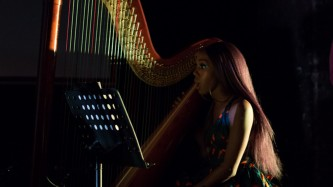 Ahya Simone performs on Harp in support of Juliana Huxtable