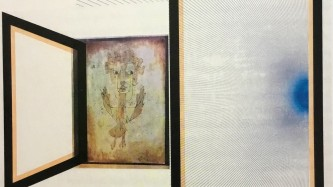 Paul Klee's Angelus Novus painting is framed by box shapes with black borders