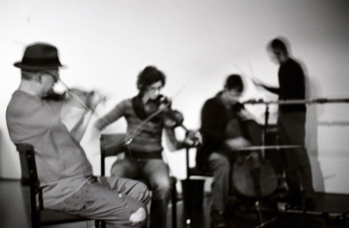 Tony Conrad, Angarad Davies, Nikos Veliotis and Mark Wastel performing