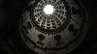 The high domed ceiling of Hamilton Mausoleum seen from below