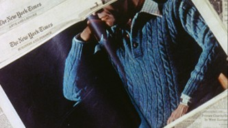 A cutting from the New York Times, showing a man in a blue jumper