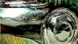 A still from Aluminium, glass morphing into green steel