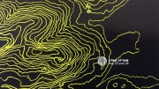 Black background with outlines of map contour lines in green