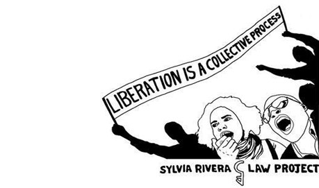 drawing of people with a banner that says Liberation is a Collective Process