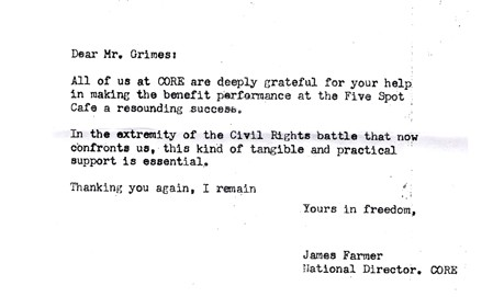 A letter from James Farmer at CORE, thanking Henry Grimes