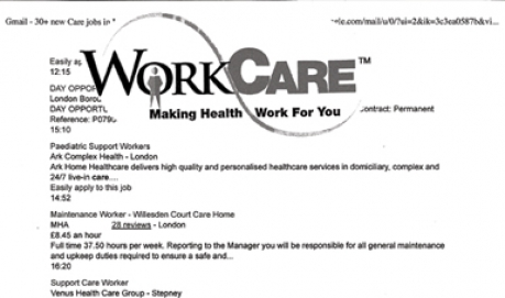 A B&W collage of text listing healthcare jobs