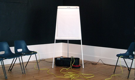 A blank flip chart on an easel, a black wall is behind