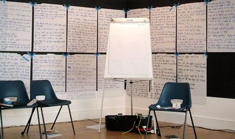A blank flip chart on an easel, the black wall is covered with full flip charts