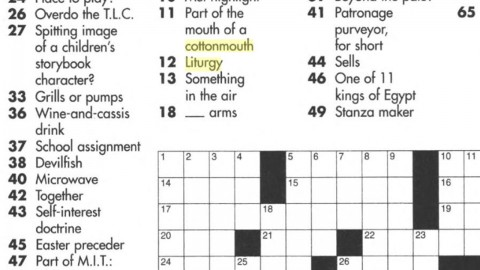 A crop of a crossword puzzle two words highlighted in yellow Cottonmouth Liturgy