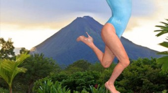A background of mount fuji. In the foreground a person in a baby blue leotard