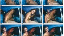 A sequence of stills of a lady getting out of a car