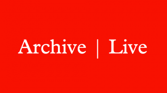 Red background with a serif font that reads Archive Live